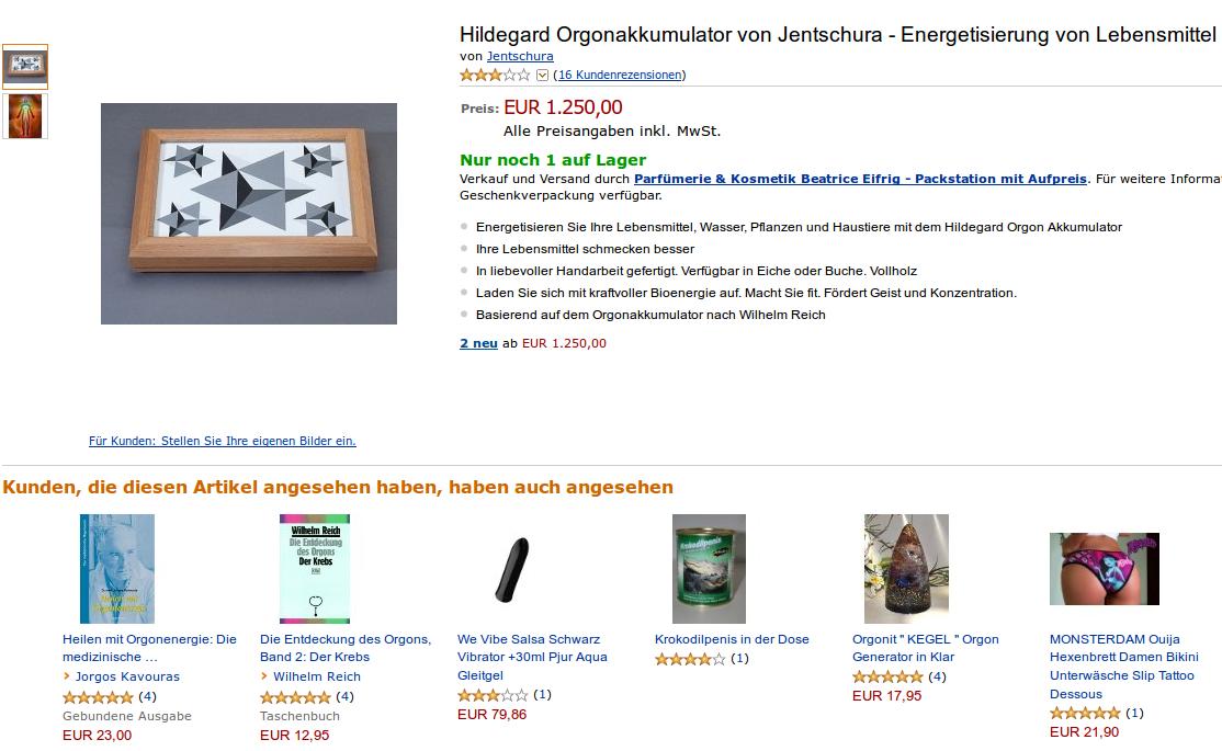 Hildegard Orgonakkumulator bei Amazon und Vorschläge