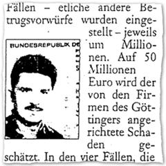 Ausriss Göttinger Tageblatt vom 5.9.2003 mit Passfoto von Holger Schubart