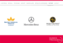 Screenshot Sponsoren Bundespresseball mit Neutrino Inc