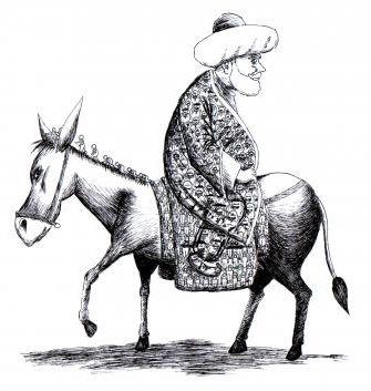 """Eines Tages setzte sich Nasrudin Hodscha verkehrt herum auf seinen Esel, nämlich mit dem Gesicht nach hinten. Die Menschen, die ihm begegneten, fragten ihn verwundert: """"Hodscha, warum reitest du falsch herum auf deinem Esel?"""" Der Hodscha antwortete ihnen: """"Das ist ganz leicht zu erklären. Ich möchte nicht in dieselbe Richtung schauen wie der Esel!"""""""